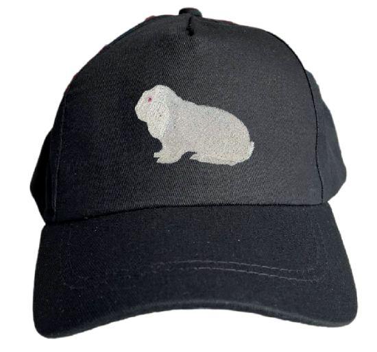 Basecap bestickt .. Kaninchen Dt Widder weiß Rotauge MB2035 grau