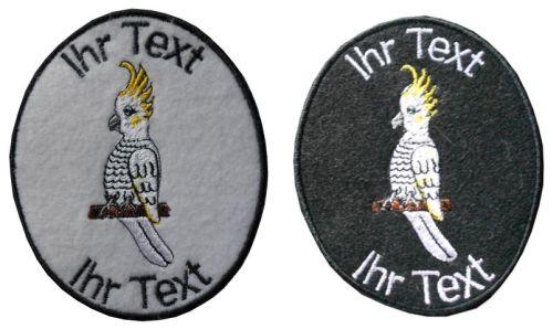 Kakadus Papagei Aufnäher mit Wunschtext Verein Patch (138) weiß