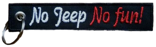 Schlüsselanhänger gestickt - No jeep No fun (884)