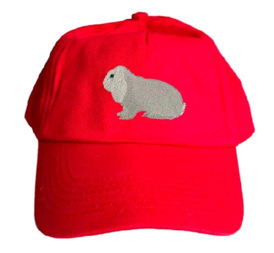 Basecap bestickt .. Kaninchen Dt Widder weiß Blauauge MB2034 grau