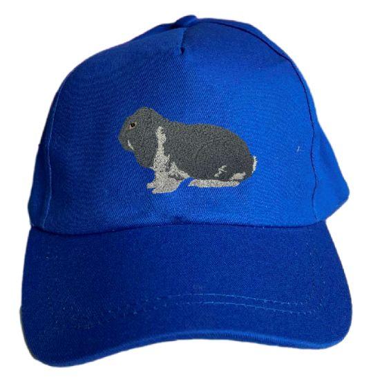 Basecap bestickt .. Kaninchen Dt. Widder blau weiß MB2025 grau