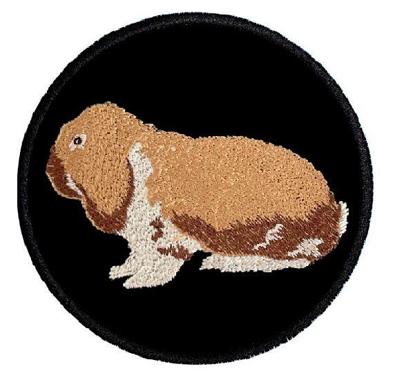 Kaninchen Deutscher Widder thüringerfarbig-weiß ... Aufnäher Patch 8 cm (2024)