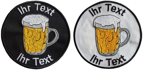 Biergarten Bierglas Aufnäher Patch gestickt mit Wunschtext 10cm(920) schwarz