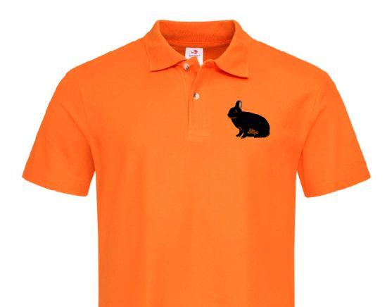 Polo-Shirt bestickt mit Kaninchen Farbenzwerge lohfarbig P2000 anthrazit 3XL