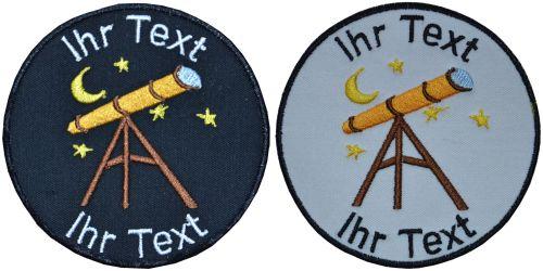 Astronom Teleskop Aufnäher m Wunschtext Verein Patch 10cm (707) schwarz