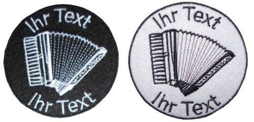 Akkordeon Schifferklavier Aufnäher mit Wunschtext Patch 10cm (106) weiß