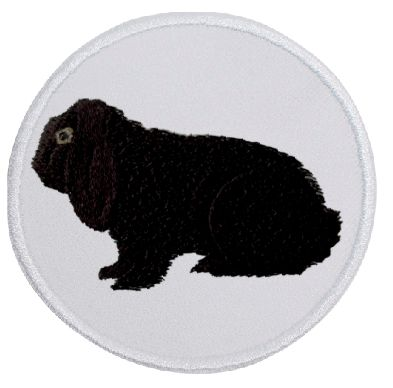 Kaninchen Deutscher Widder schwarz ... Aufnäher Patch 8 cm (2038)