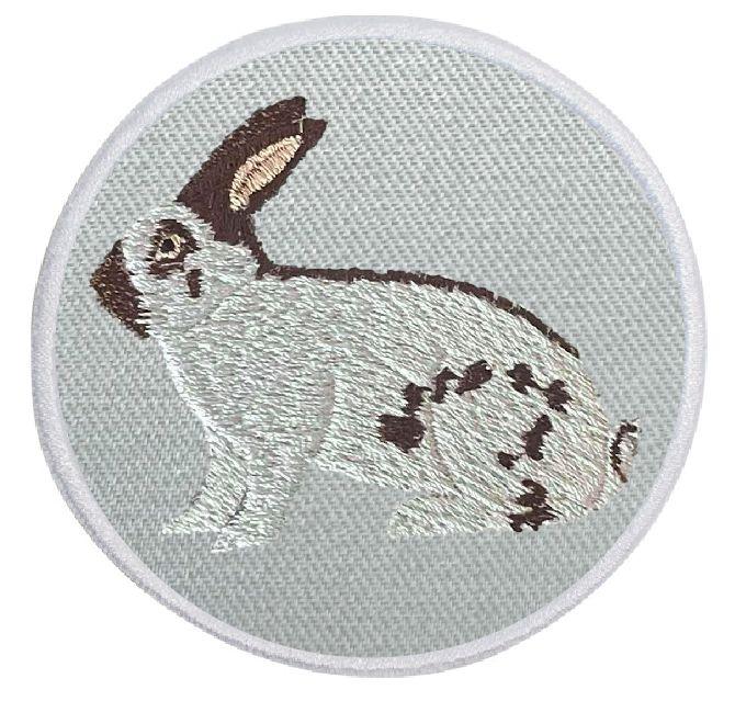 Kaninchen Deutsche Riesenschecke havannafarbig ... Aufnäher Patch 8 cm (2019)