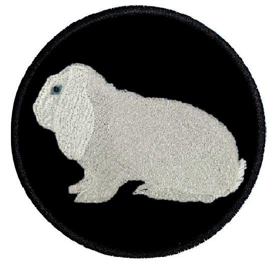 Kaninchen Deutscher Widder weiß Blauauge ... Aufnäher Patch 8 cm (2034)