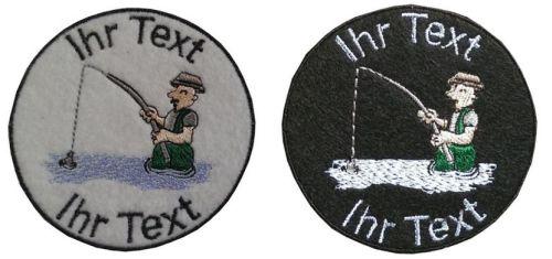 Angler Angelsport Fischen Aufnäher mit  Wunschtext Patch 10cm  (164) weiß