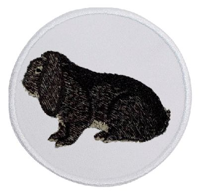 Kaninchen Deutscher Widder chinchillafarbig ... Aufnäher Patch 8 cm (2037)