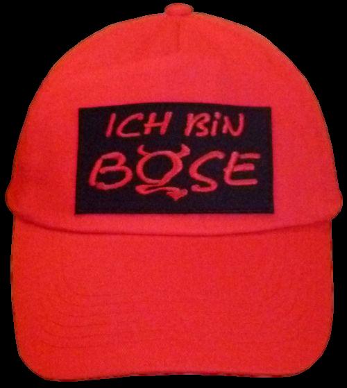 Basecap Cap bestickt .. ich bin böse...  in rot (745)