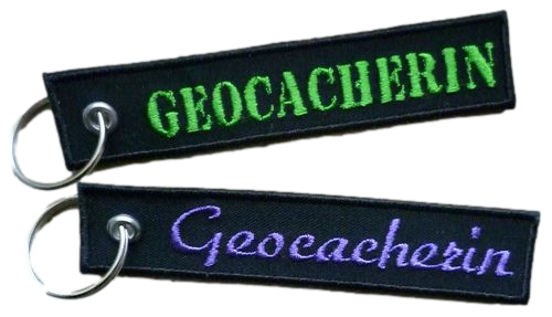 Schlüsselanhänger Geocacherin gestickt  Wunschfarbe (863) grün Disc Hand