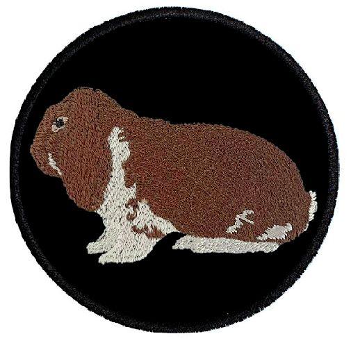 Kaninchen Deutscher Widder havannafarbig weiß ... Aufnäher Patch 8 cm (2031)