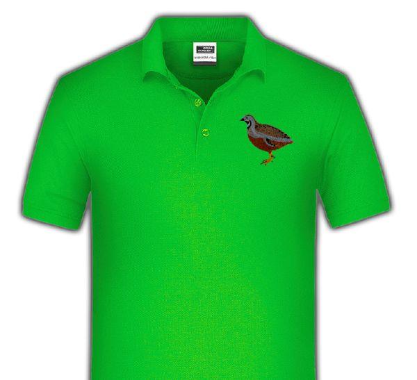 Polo-Shirt bestickt mit Chinesische Zwergwachtel P2006 anthrazit 3XL