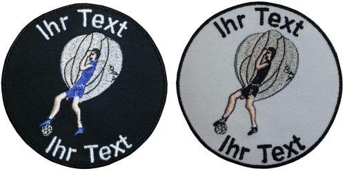 Ballonfußball Aufnäher Patch gestickt mit Wunschtext 10cm(870) schwarz