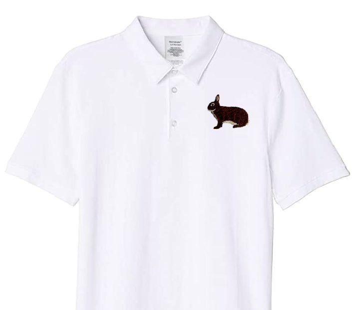 Polo-Shirt bestickt mit Kaninchen Zwerg Rex castorfarbig P2001 anthrazit 3XL