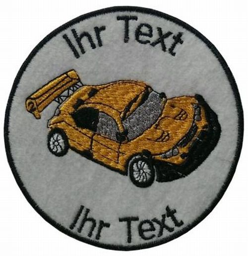 Auto Motorsport Aufnäher mit Wunschtext  Verein Patch 10cm (253)