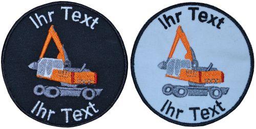 Bagger Baumaschine Aufnäher Patch gestickt mit Wunschtext 10cm (785) schwarz