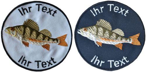Barsch Angler Fischer Aufnäher m Wunschtext Verein Patch 10cm (616) weiß