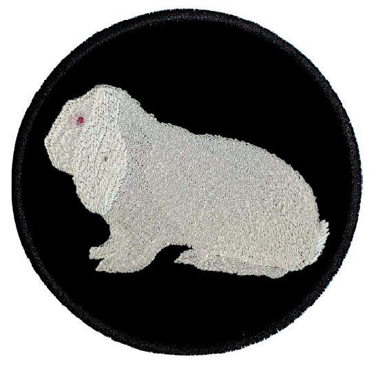 Kaninchen Deutscher Widder weiß Rotauge ... Aufnäher Patch 8 cm (2035)