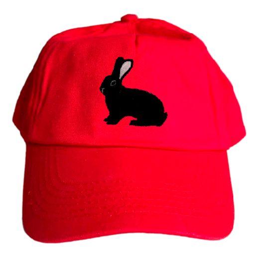 Basecap bestickt .. Kaninchen Dt. Riesen schwarz MB2036 grau