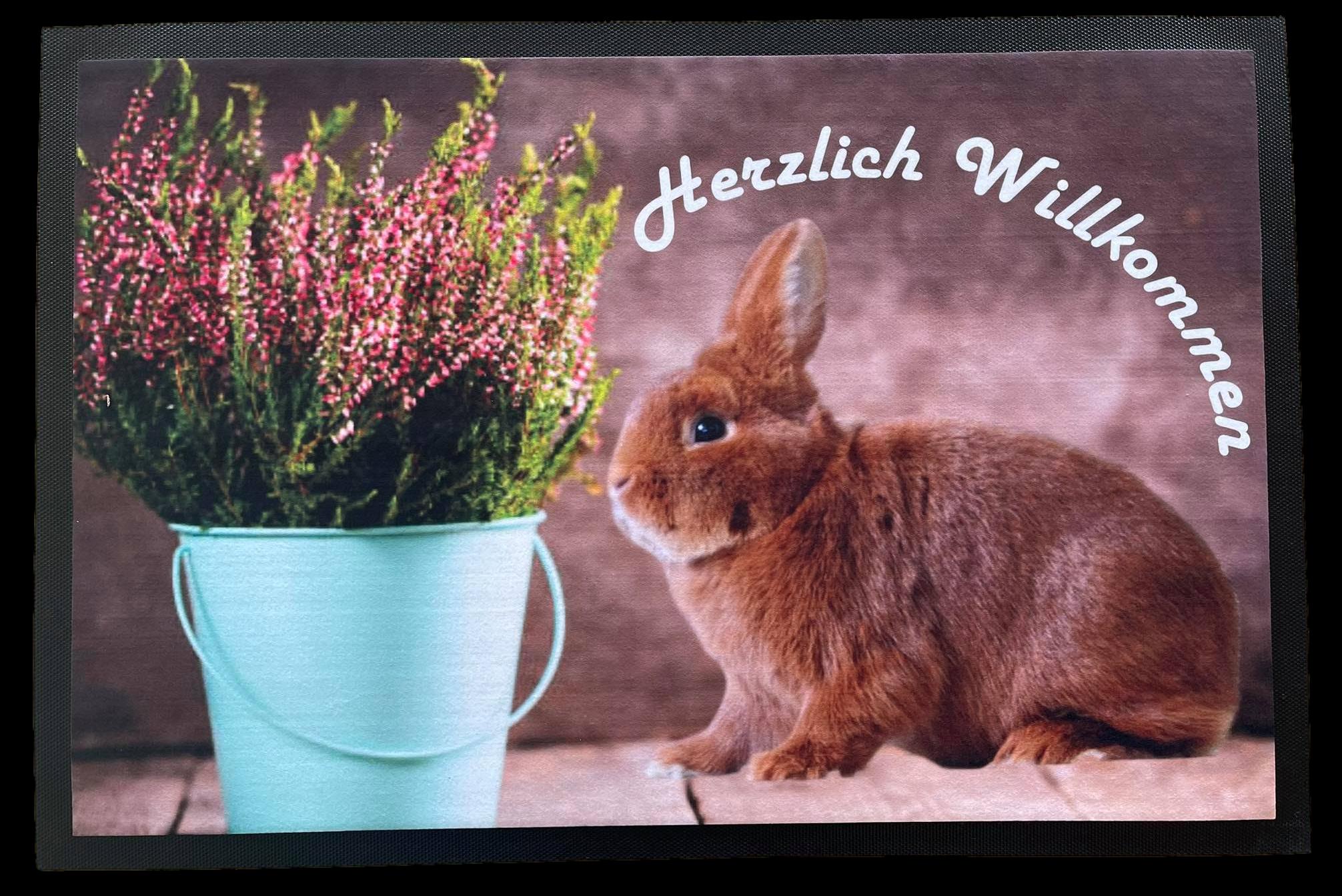 Fußmatte 75x50 cm rutschfest Herzlich Willkommen mit Kaninchen F003