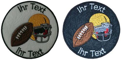 American Football Aufnäher mit Wunschtext Verein Patch 10cm  (256) weiß
