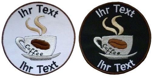 Cafe' Kaffeetasse Aufnäher Patch gestickt mit Wunschtext 10cm(874) schwarz