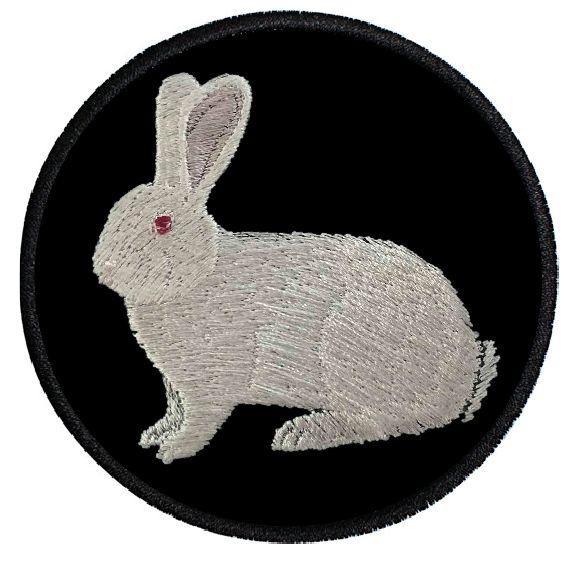 Kaninchen Deutsche Riesen weiß ... Aufnäher Patch 8 cm (2010)