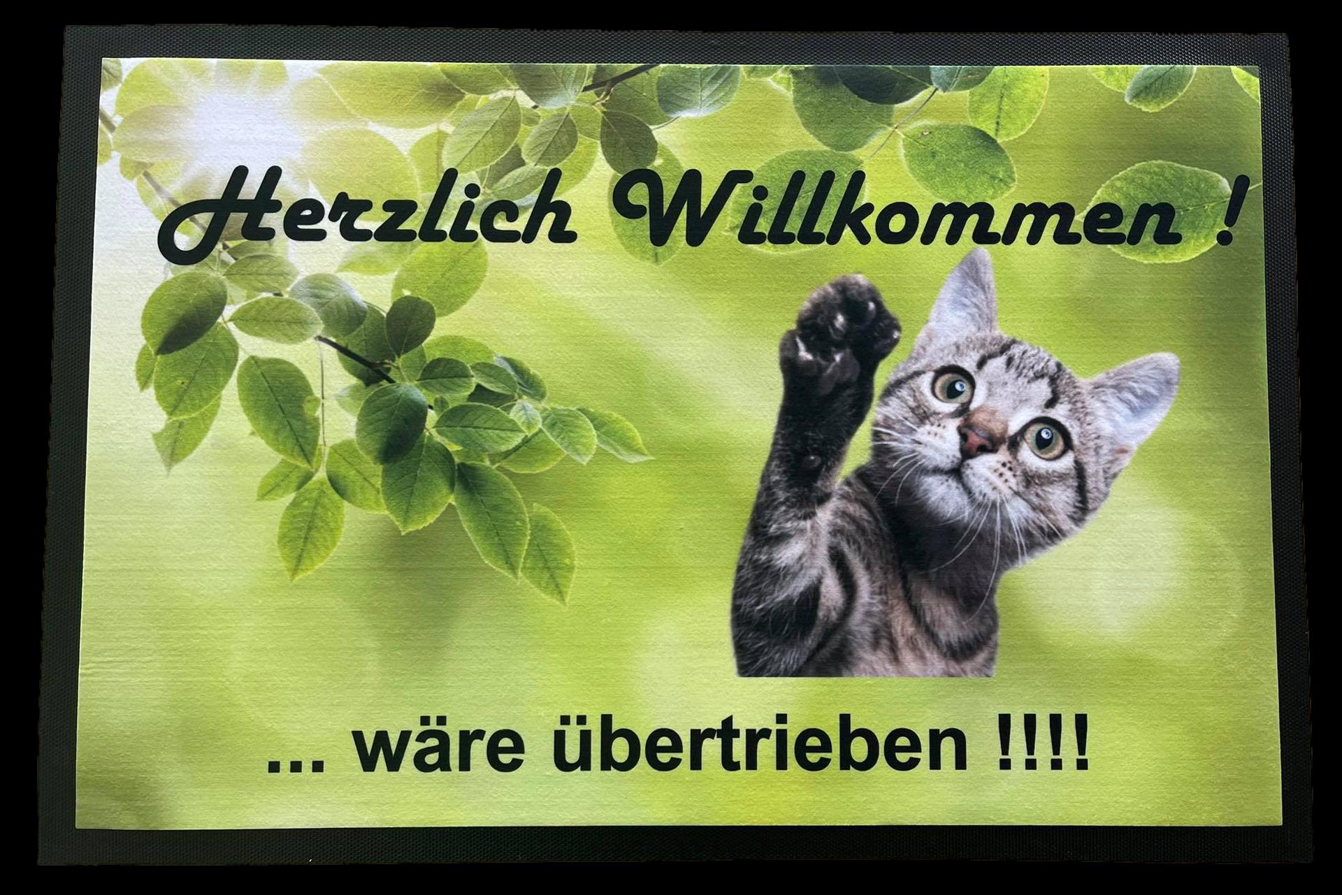 Fußmatte 75x50 cm rutschfest Herzlich Willommen mit Katze Spruch F002