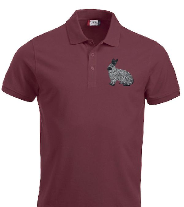 Polo-Shirt bestickt mit Kaninchen Champagne silber P2016 anthrazit 3XL