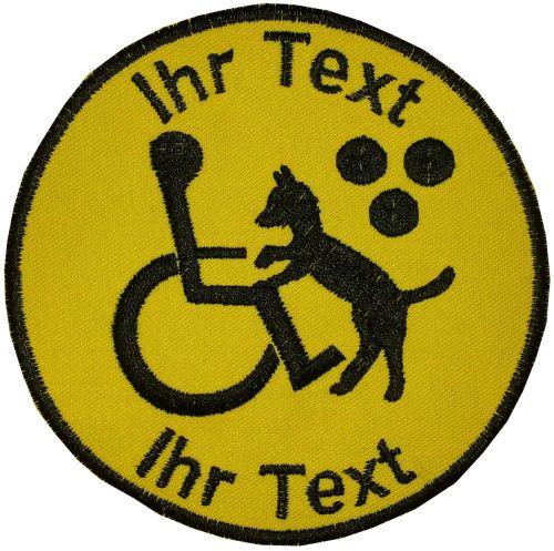 Blindenhund Blindenführhund Aufnäher mit Wunschtext Patch 10cm (651)