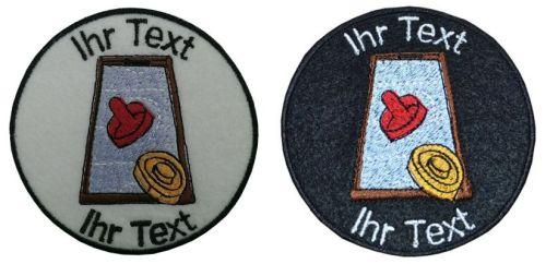 Airhockey Aufnäher mit Wunschtext Patch 8cm  (257-1) weiß