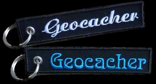 Schlüsselanhänger Geocacher gestickt  Wunschfarbe (851) grün Disc Hand