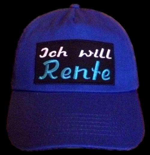 Basecap Cap bestickt .. Ich will Rente... blau (750-1)
