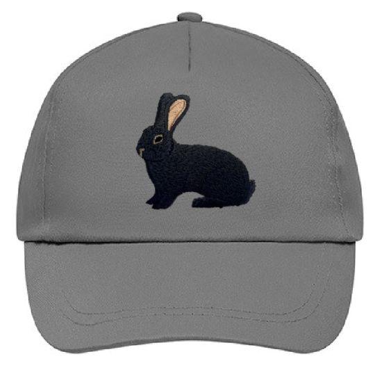 Basecap bestickt .. Kaninchen Dt. Riese schwarz MB2026 grau